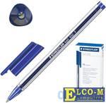 """Ручка шариковая STAEDTLER """"Ball"""", трехгранная, корпус прозрачный, узел 0,7 мм, линия 0,3 мм, синяя,"""