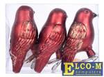 Набор украшений елочных ПТИЧКИ, 8 см, 3 шт в ПВХ коробке, пластик