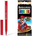 """Фломастеры BRAUBERG """"Корсары"""", 6 цветов, вентилируемый колпачок, картонная упаковка с золотистым тис"""