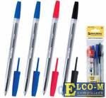 Набор шариковых ручек BRAUBERG Line 4 шт синий красный черный 0.5 мм