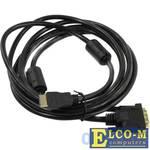 Кабель HDMI to DVI-D (19M -25M) 3м, 2 фильтра TV-COM LCG135F-3M