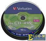 Диски CD-RW Verbatim Cake Box (43480)