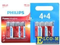Батарейки Philips LR6P8BP/10 (AA) Power щелочные (блистер 8 шт)