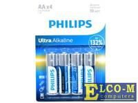 Батарейки Philips LR6E4B/51 Ultra (AA 1,5B) щелочные (блистер 4 шт)