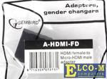 Переходник HDMI-microHDMI Gembird, 19F/19M, золотые разъемы, пакет A-HDMI-FD