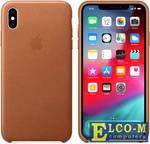 Чехол-накладка iPhone XS Max Apple Leather Case Saddle Brown