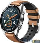 "Смарт-часы Huawei Watch GT Brown Hybrid Strap/1.4"" AMOLED/10.4 mm/кардио, спортиный, бассейн режимы/GPS, Glonass/водонепроницаемые"