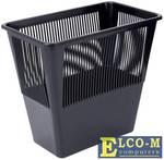 Корзина для бумаг, сетчатая, черная, прямоугольная, 12 литров