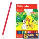 """Набор цветных карандашей BRAUBERG """"My lovely dogs"""" 18 шт 176 мм"""