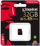 Карта памяти MicroSDHC 32GB Kingston Class10 Canvas React