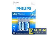 Батарейки Philips LR03E4B/51 Ultra (AAA) щелочные (блистер 4 шт)