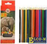 """Карандаши цветные KOH-I-NOOR """"Animals"""", 18 цветов, грифель 2,8 мм, заточенные, европодвес, 355301800"""