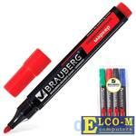 Набор маркеров перманентных BRAUBERG 150474 3 мм 4 шт синий зеленый черный красный