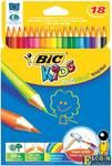 """Карандаши цветные BIC """"Kids ECOlutions Evolution"""", 18 цветов, пластиковые, заточенные, европодвес, 9"""